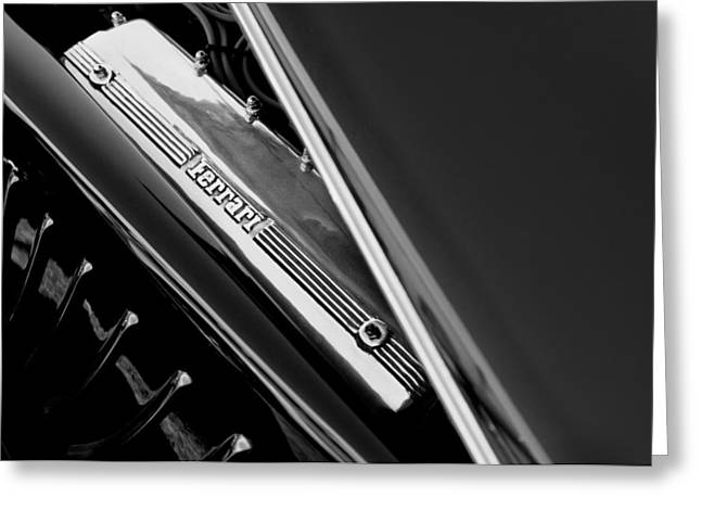 Custom Roadster Greeting Cards - Ferrari Engine - 2011 Frank Lockhart Tribute Boattail Speedster Custom Roadster  Greeting Card by Jill Reger