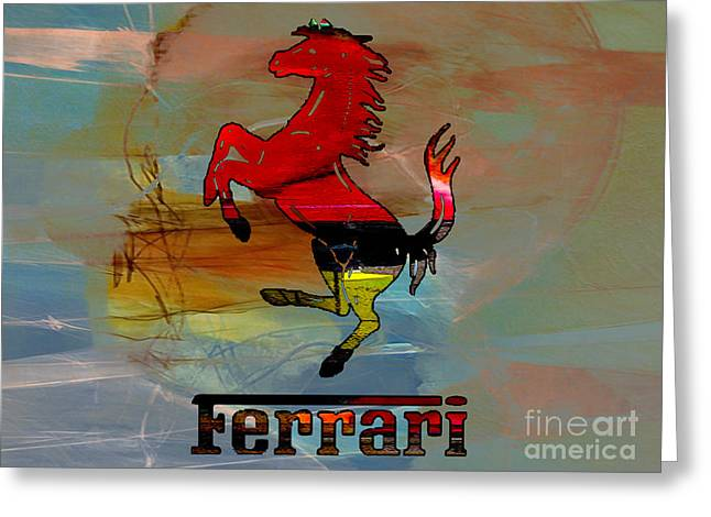 Rusted Cars Mixed Media Greeting Cards - Ferrari Greeting Card by Marvin Blaine