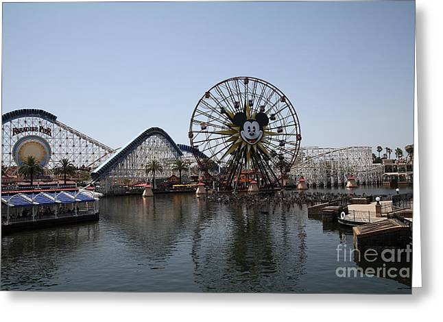 Disney California Adventure Park Greeting Cards - Ferris Wheel and Roller Coaster - Paradise Pier - Disney California Adventure - Anaheim California - Greeting Card by Wingsdomain Art and Photography