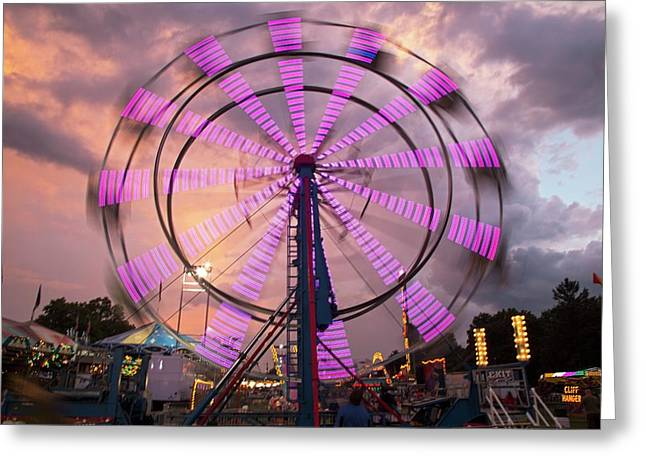 Ferris Wheel Fairground Ride Greeting Card by Jim West