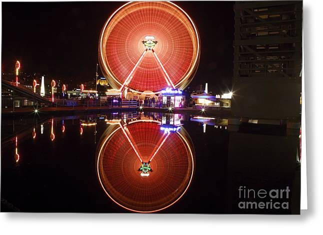 Ferris Wheel Reflections Greeting Card by George Oze