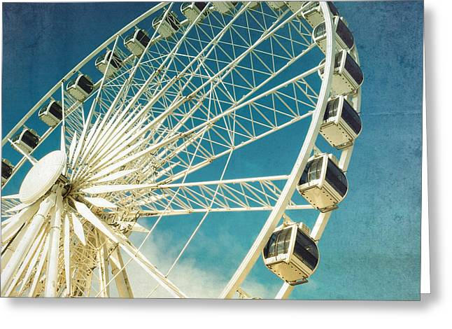 Wheels Photographs Greeting Cards - Ferris wheel retro Greeting Card by Jane Rix