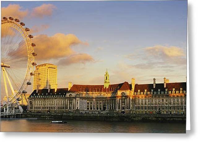 South Bank Greeting Cards - Ferris Wheel With Buildings Greeting Card by Panoramic Images