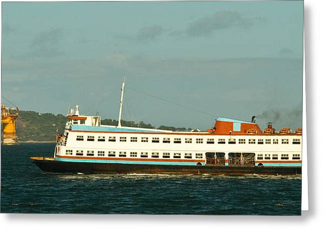 Sea Platform Greeting Cards - Ferry boat in the Guanabara Bay Greeting Card by Celso Diniz