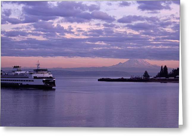 Silhouette Of Tree Greeting Cards - Ferry In The Sea, Bainbridge Island Greeting Card by Panoramic Images