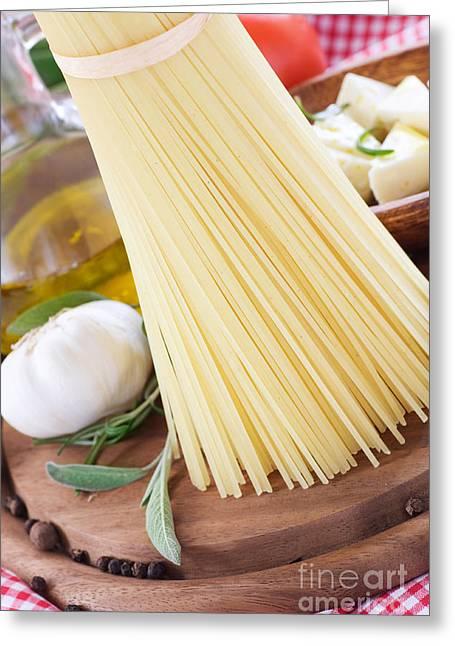 Spaghetti Greeting Cards - Feta cheese Greeting Card by Mythja  Photography