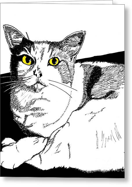 Love The Animal Drawings Greeting Cards - Fido Greeting Card by Andooga Design