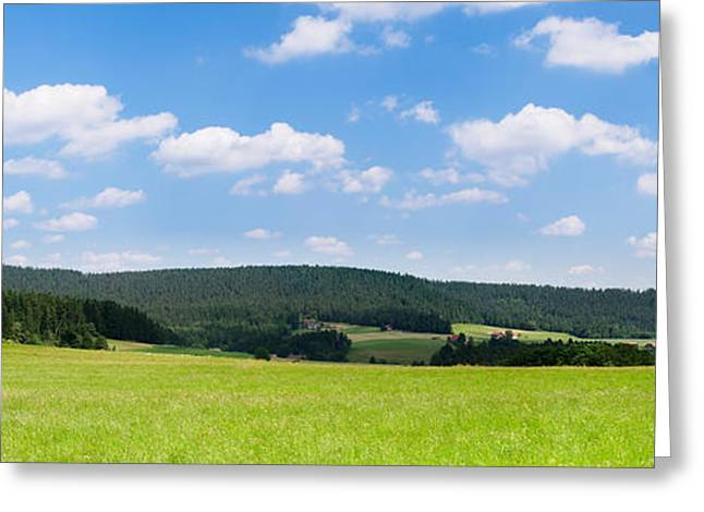 Field With A Mountain Range Greeting Card by Panoramic Images