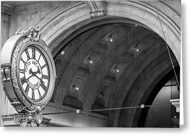 Empire State Photographs Greeting Cards - Fifth Avenue Building Clock Greeting Card by Susan Candelario