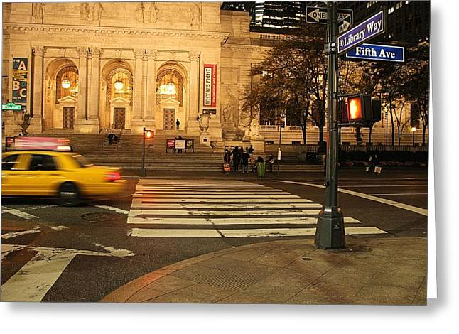 Crosswalk Greeting Cards - Fifth Avenue Greeting Card by Dan Sproul