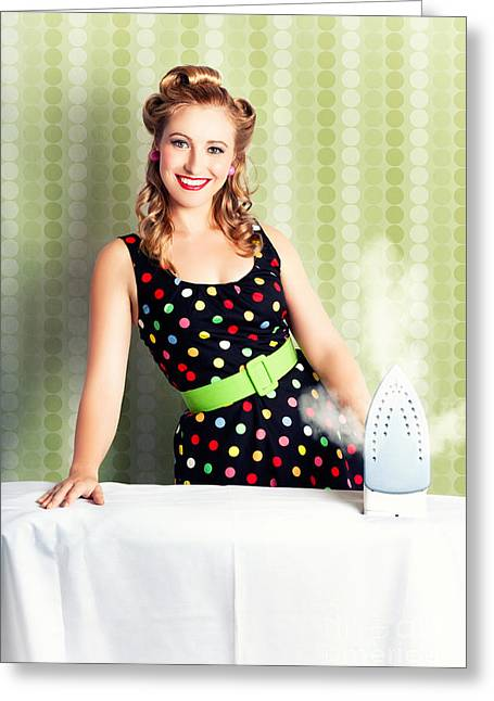 Fifties Classic Portrait Retro House Work Woman  Greeting Card by Jorgo Photography - Wall Art Gallery