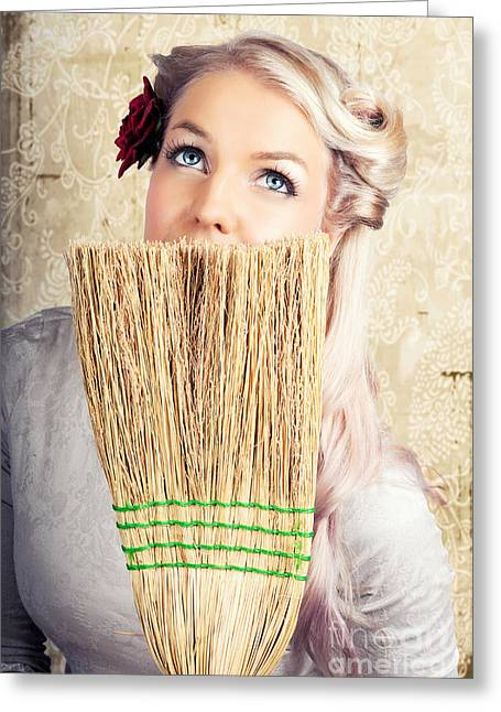 Fifties Housewife Daydreaming While Cleaning Greeting Card by Jorgo Photography - Wall Art Gallery