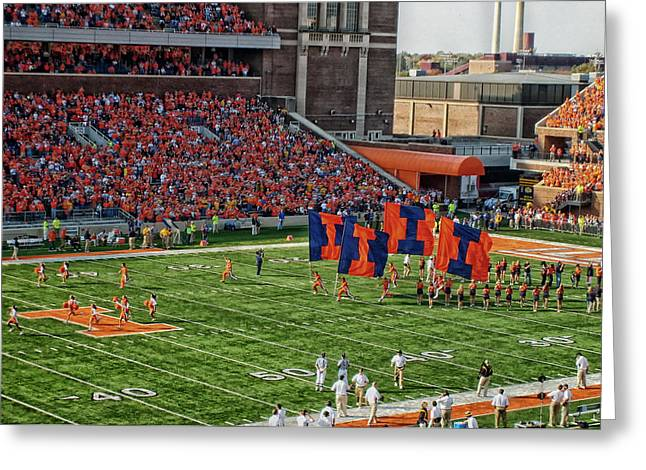 Sidelines Greeting Cards - Fighting Illini  Greeting Card by Mountain Dreams