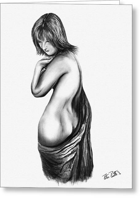 Charcoal Greeting Cards - Figure Drawing 101 Greeting Card by Peter Piatt