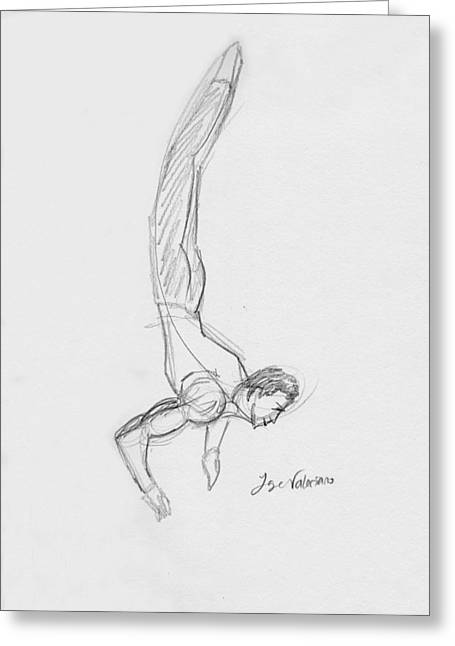 Sketch Greeting Cards - Figure Sketch Greeting Card by Jose Valeriano