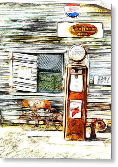 1950 Merc Greeting Cards - Fill Er Up Greeting Card by Steve McKinzie
