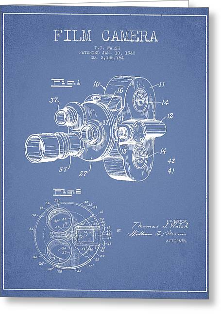 Camera Greeting Cards - Film Camera Patent Drawing from 1938 Greeting Card by Aged Pixel