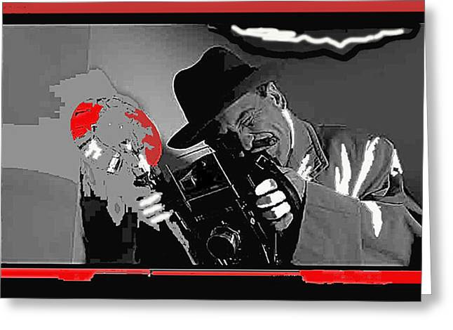 Joe Pesci Greeting Cards - Film Homage Joe Pesci The Public Eye 1992 Weegee Screen Capture Color Added 2011 Greeting Card by David Lee Guss