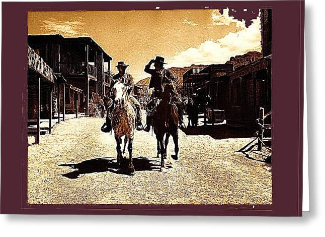 Cameron Mitchell Photographs Greeting Cards - Film Homage Mark Slade Cameron Mitchell Riding Horses The High Chaparral Old Tucson AZ c.1967-2013 Greeting Card by David Lee Guss