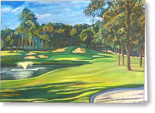 Lake Walden Greeting Cards - Final Hole at Walden on Lake Conroe Greeting Card by Frank Giordano
