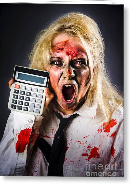 Money Problems Greeting Cards - Finance tax accountant. Return from the dead Greeting Card by Ryan Jorgensen