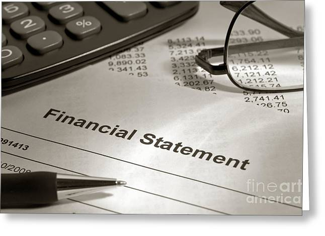 Account Greeting Cards - Financial Statement on my Desk Greeting Card by Olivier Le Queinec