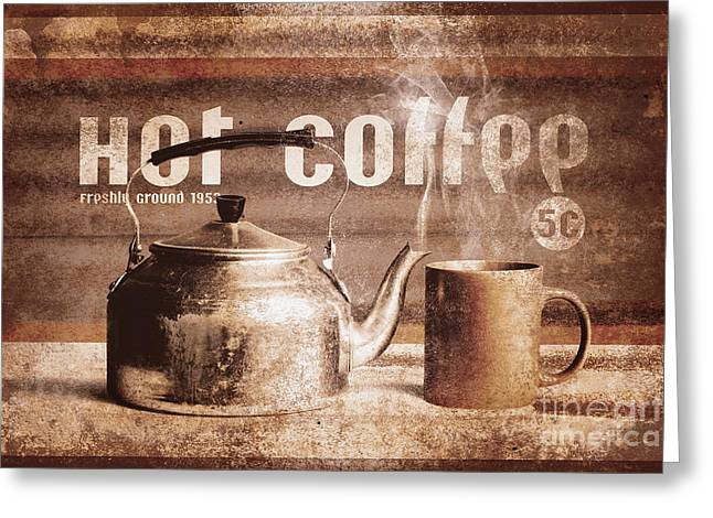 Fine Art Coffee Shop Tin Sign Insignia Greeting Card by Jorgo Photography - Wall Art Gallery