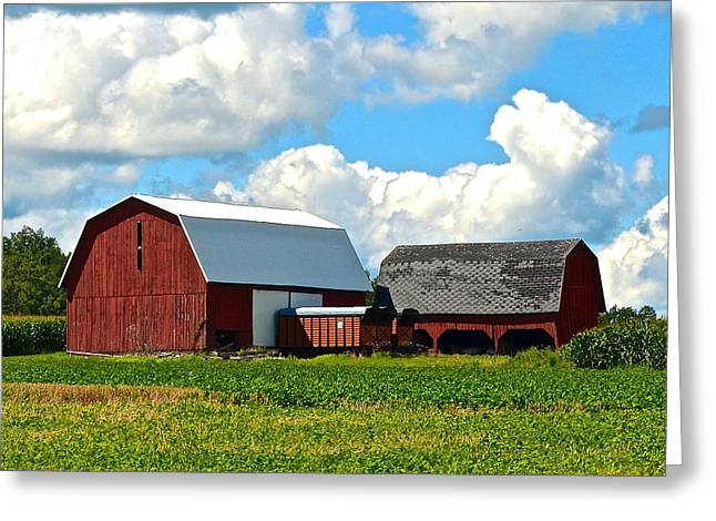 Hay Bales Greeting Cards - Finger Lakes Farm Greeting Card by Frozen in Time Fine Art Photography