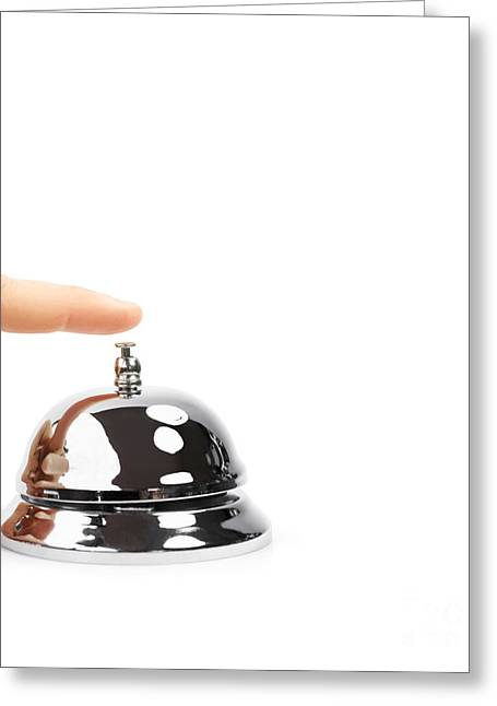 Rings On Fingers Greeting Cards - Finger Pushing Service Bell Greeting Card by Ryan Jorgensen
