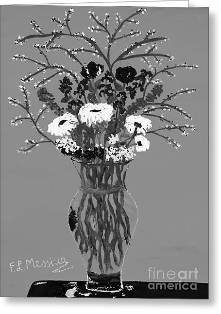 Glass Vase Drawings Greeting Cards - Fiori Greeting Card by Loredana Messina