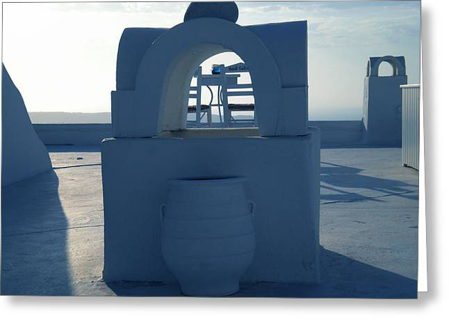 Thirasia Greeting Cards - Fira View Santorini Greece Greeting Card by Colette V Hera  Guggenheim