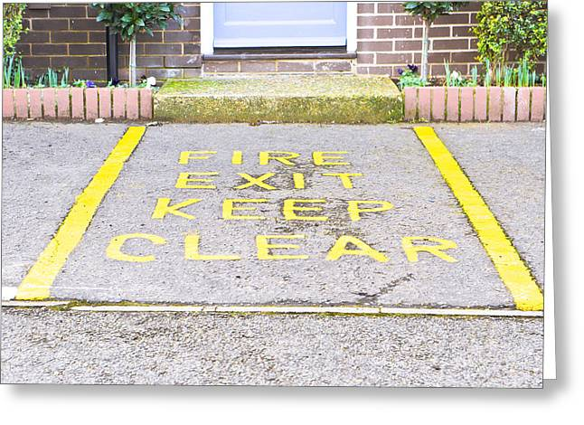 Asphalt Greeting Cards - Fire exit Greeting Card by Tom Gowanlock