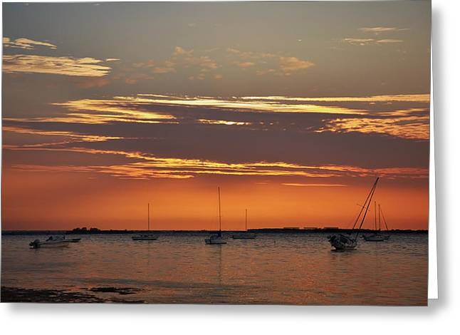 Boats In Harbor Digital Art Greeting Cards - Fire in the Sky Greeting Card by Bill Cannon
