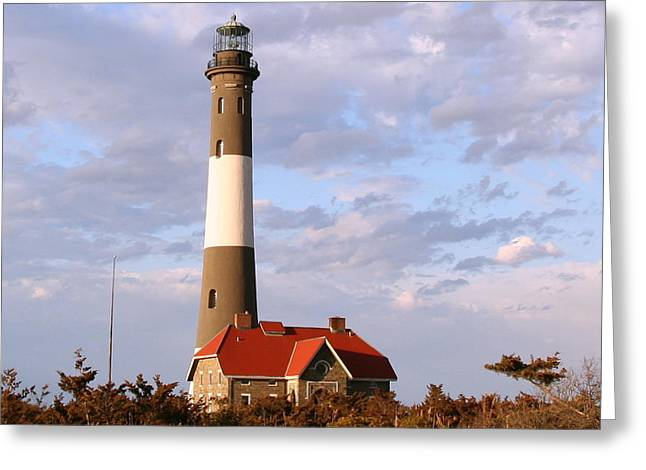 York Beach Greeting Cards - Fire Island Lighthouse Greeting Card by Karen Silvestri