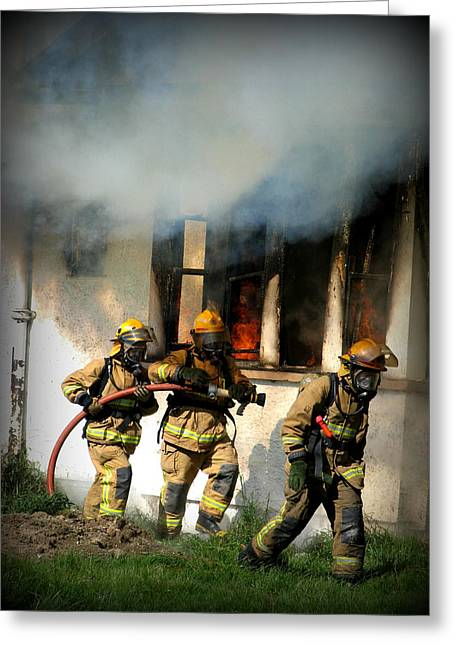 Brigade Greeting Cards - Firefighters Greeting Card by Amanda Stadther