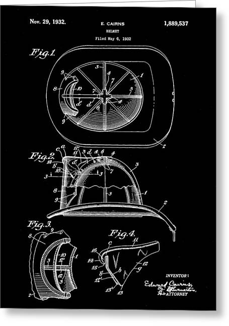 Hazmat Greeting Cards - Firefighters Helmet Patent 1932 - Black Greeting Card by Stephen Younts
