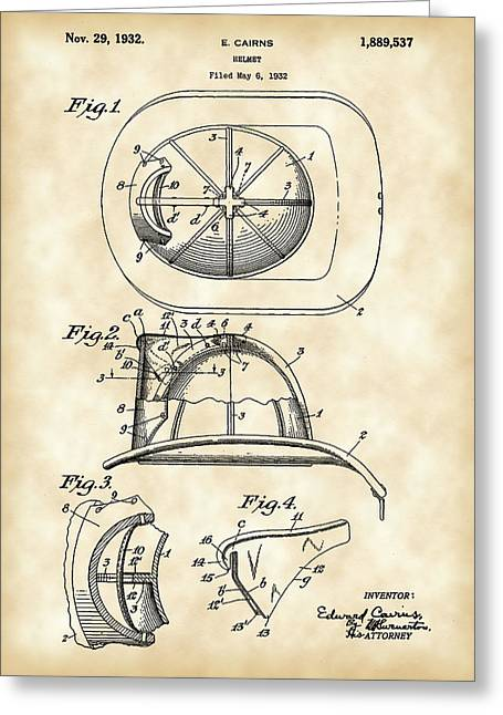 Hazmat Greeting Cards - Firefighters Helmet Patent 1932 - Vintage Greeting Card by Stephen Younts