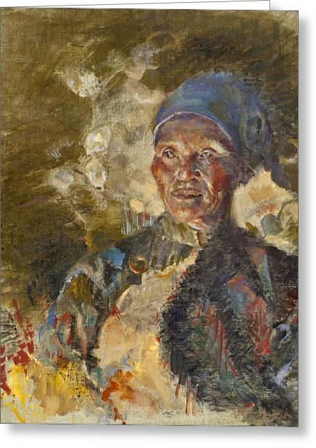 Tibetan Portrait Greeting Cards - Firelit Woman Greeting Card by Ellen Dreibelbis