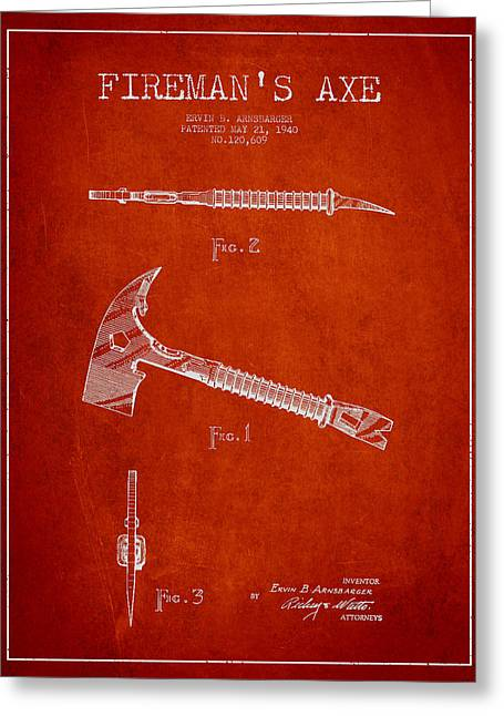 Firefighter Greeting Cards - Fireman Axe Patent drawing from 1940 Greeting Card by Aged Pixel