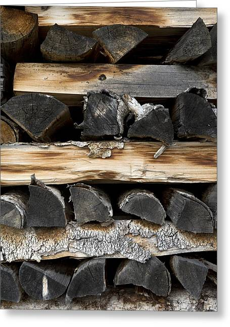 Carbon Dioxide Photographs Greeting Cards - Firewood Stack Greeting Card by Frank Tschakert