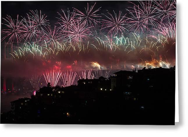 Bosphorus Greeting Cards - Fireworks Greeting Card by Ugur Ugurlu
