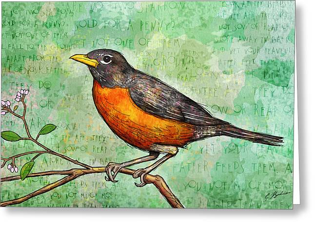 Bible Art Greeting Cards - First Robin Of Spring Greeting Card by Gary Bodnar