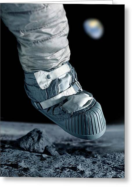 First Step On The Moon Greeting Card by Detlev Van Ravenswaay
