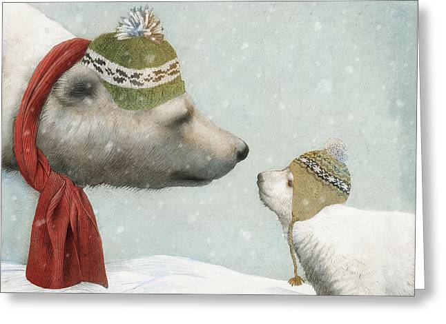 Polar Bears Greeting Cards - First Winter Greeting Card by Eric Fan