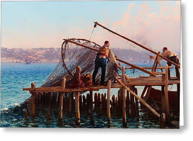 Panoramic Ocean Paintings Greeting Cards - Fishermen Bringing in the Catch Greeting Card by Fausto Zonaro