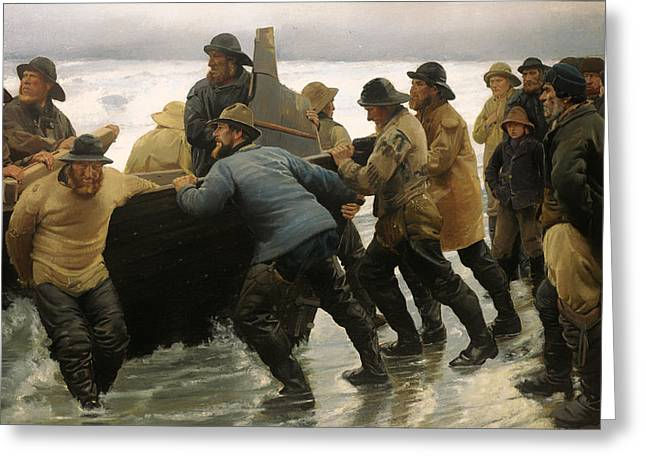 Storm. Rain. Oil On Canvas Greeting Cards - Fishermen Launching a Rowing Boat Greeting Card by Michael Ancher