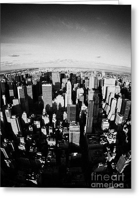 Distortion Greeting Cards - Fisheye View North Towards Central Park New York City Usa Greeting Card by Joe Fox