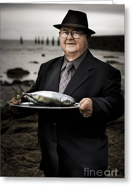 Shoreline Old Men Greeting Cards - Fishing And Consumption Greeting Card by Ryan Jorgensen