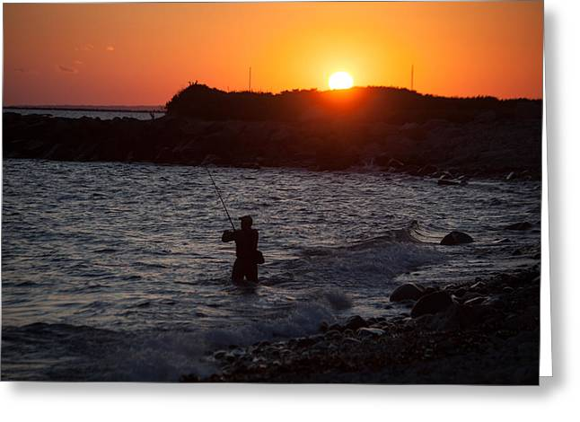 Going Down Greeting Cards - Fishing At Sunset Greeting Card by Karol  Livote