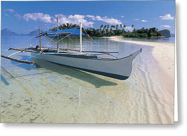 Fishing Boats Greeting Cards - Fishing Boat Moored On The Beach Greeting Card by Panoramic Images
